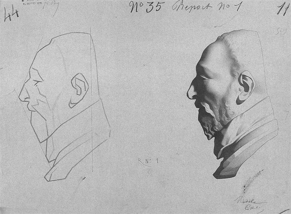Bargue drawing of a man's head