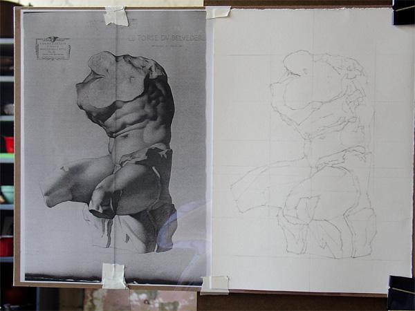 Bargue drawing of a torso