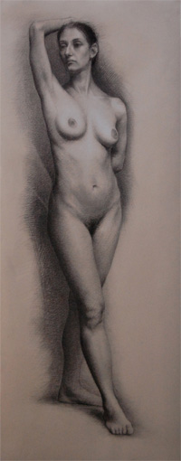 Andrea J. Smith's student drawing of a female nude figure