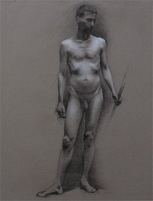 Andrea J. Smith's student drawing of a nude male figure