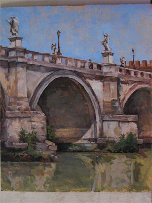 "The finished painting titled ""Ponte Sant'Angelo"