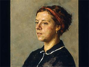 A portrait sketch of a woman in colour oils