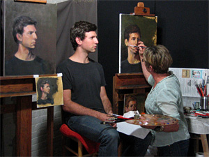 Students working at the Harlem Studio