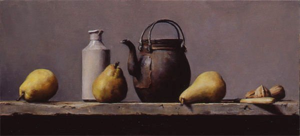 Still life with old kettle and pears